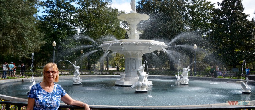 Famous Fountain In Savannah - In Forrest Gump Film